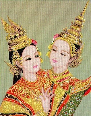 Two Thai Dancers - Cross Stitch Pattern by Pinn Stitch, http://www.amazon.com/dp/B003705Y9W/ref=cm_sw_r_pi_dp_yegIrb0BZ05K8
