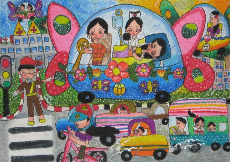 'Emergency Ambulance Car' by Sarita Boonyawisa, Aged 8, Thailand: 4th Contest, Bronze #KidsArt #ToyotaDreamCar