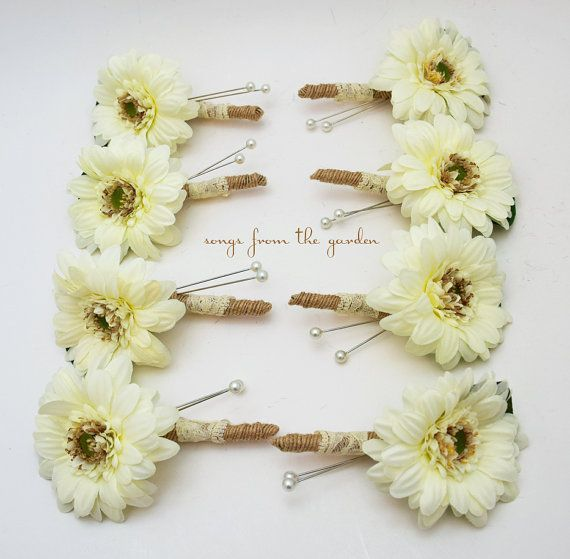 Gerber Daisy Boutonnieres Groom Groomsmen Wedding Flower Package White Gerbers Burlap and Lace Accent - Rustic Wedding Boutonnieres