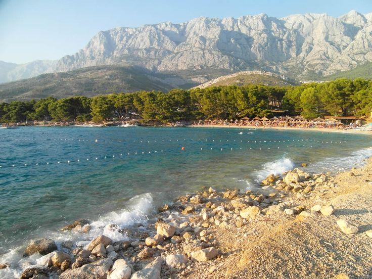 Makarska Beach with Mountain Background