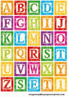 Abecedario, letras en bloques de construcción. Para imprimir.