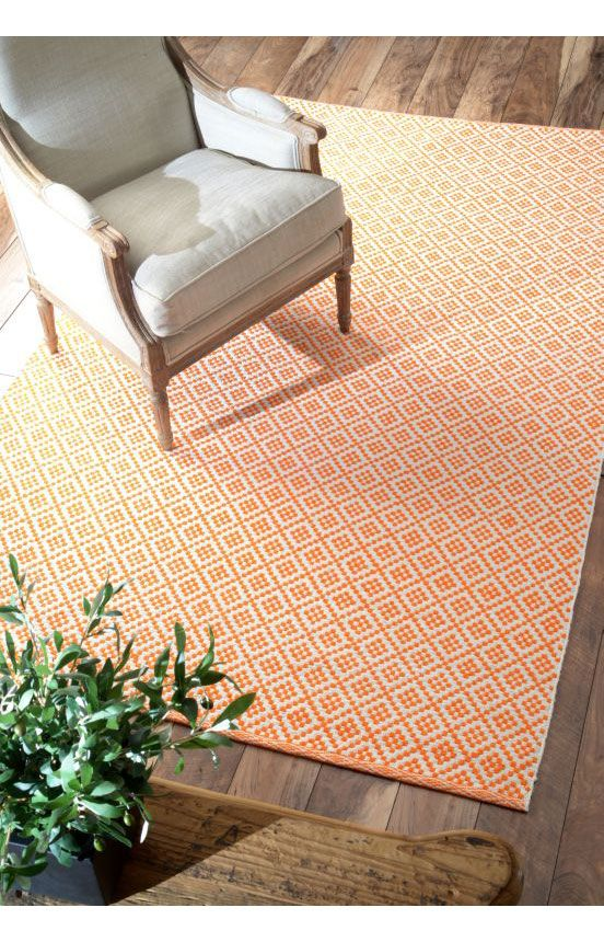 ChaletDiamonds Cotton Trellis Flatwoven Rug Orange RugsDining Room
