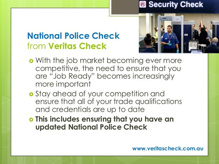 National Police Checks can be obtained online with results delivered by email in as little as 1 hour. If you require a hard copy, not a problem! Visit www.veritascheck.com.au today.
