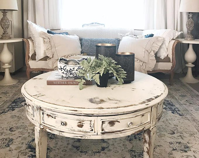 Coffee Table White Distressed Round Living Room Table Shabby Chic Hand Painted Furniture Round Living Room Table Shabby Chic Coffee Table Round Living Room