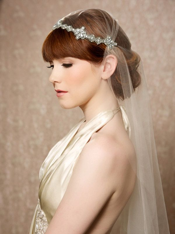 FIONA Silver Crystal Juliet Cap Veil from Gilded Shadows
