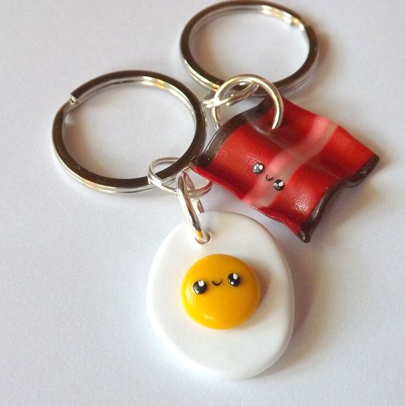 Bacon and Eggs Best Friend Keychains - BFF Keychains - Funny Keychains - Breakfast Food Bacon Best Friends  - Kawaii Clay Charms