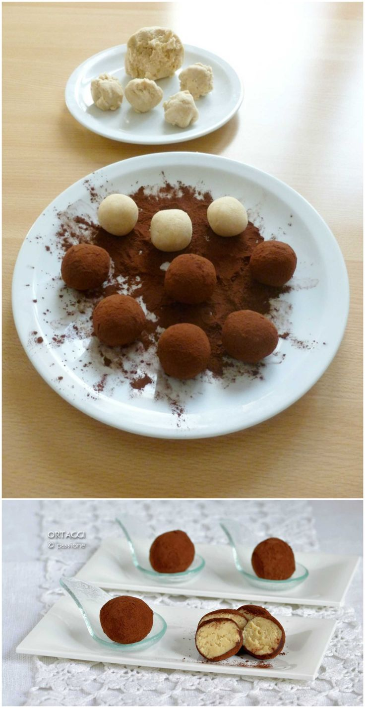 Bon bon al tiramisù, tartufi al mascarpone, palline di dolcetti, tartufini con cacao