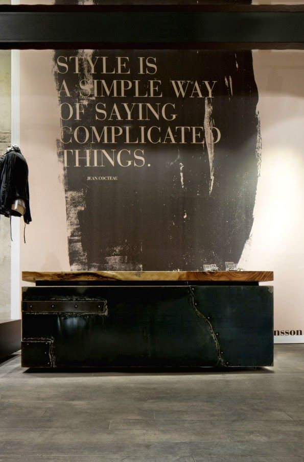 "BOUTIQUE WOLFENSSON, Vienna, Austria, ""Style is a simple way of saying complicated things"", pinned by Ton van der Veer"