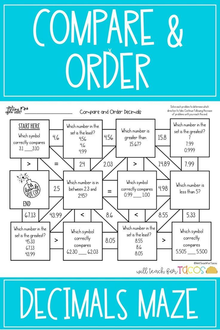 Maze for comparing and ordering decimals to the thousandths for 5th grade    Ordering decimals [ 1104 x 736 Pixel ]