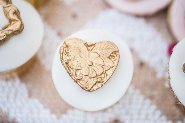 Gold heart-shaped wedding cupcake decorations by Elizabeth's Cake Emporium
