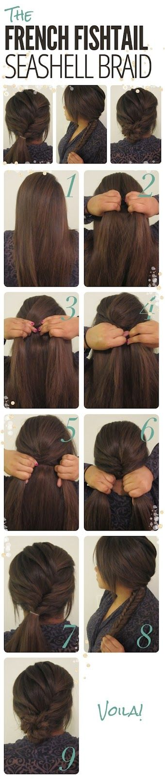 easy low bun/braid :) you can keep it in the 7th step and add a ribbon to your pony tail or go all the way to the 9th step for a messy bun effect.