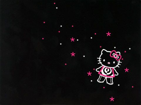 Pink And Black Hello Kitty Background