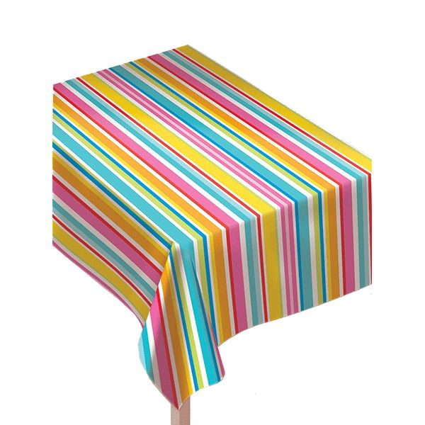 Charming Summer Stripes Flannel Backed Vinyl Table Cover 90in | Wallyu0027s Party Factory  #summer #