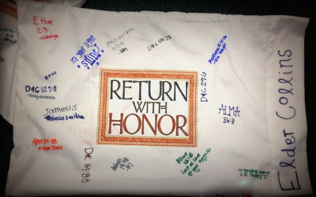 "Make pillowcases for missionaries. Iron on ""Return with Honor"" download included"