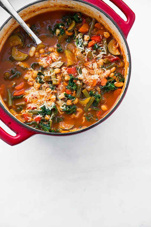 Vegan, Gluten-Free Kale and Quinoa Minestrone | 21 Healthy And Delicious Freezer Meals With No Meat