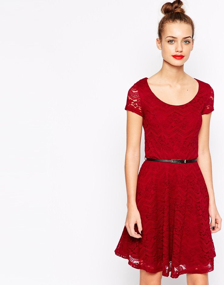 New Look Lace Belted Skater Dress
