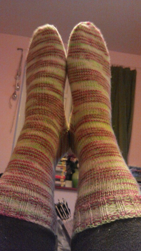 My first pair of handknitted socks ever! So pleased to have finished them....and only a couple of mistakes. Result!