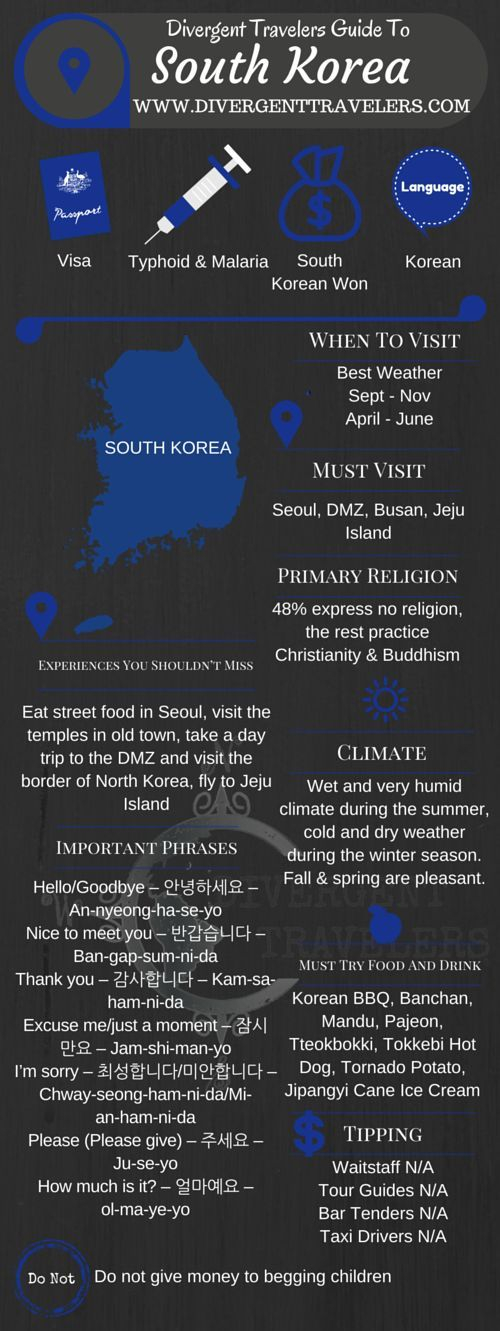 Divergent Travelers Travel Guide, With Tips And Hints To South Korea . This is your ultimate travel cheat sheet to South Korea. Click to see our full South Korea Travel Guide from the Divergent Travelers Adventure Travel Blog and also read about all of the different adventures you can have in South Korea at http://www.divergenttravelers.com/destinations/south-korea/