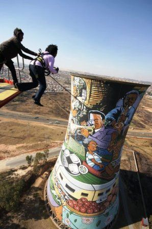Bungee Off Soweto's Orlando Towers:   Last year for my birthday I jumped off the Orlando Towers in Johannesburg's most famous township, Soweto.  My birthday happened to fall very conveniently on a Saturday so I got a good friend of mine to accompany me. She had brought along a French colleague whom she was tasked with entertaining and he was over the moon that he was going to drive in an actual township! In Soweto, of all the famous townships in South Africa!