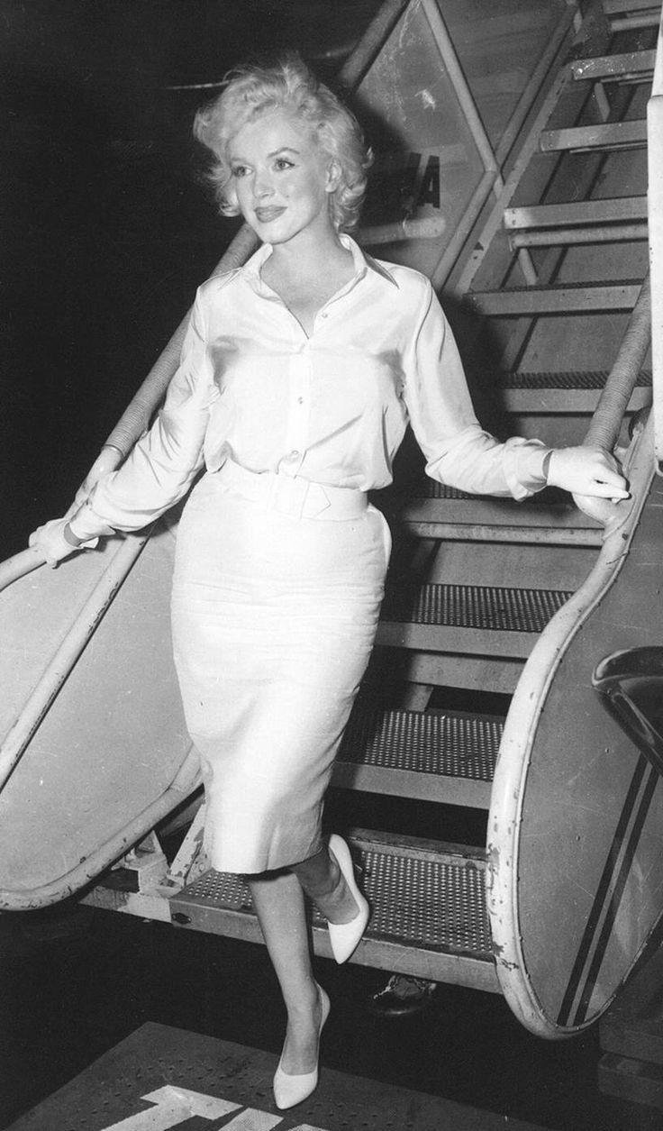 Marilyn Monroe descending from a TWA flight in the 1960's