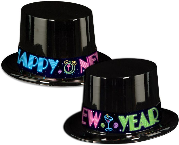 New Years Black Neon Party Topper - 25 Pack Case Pack 25