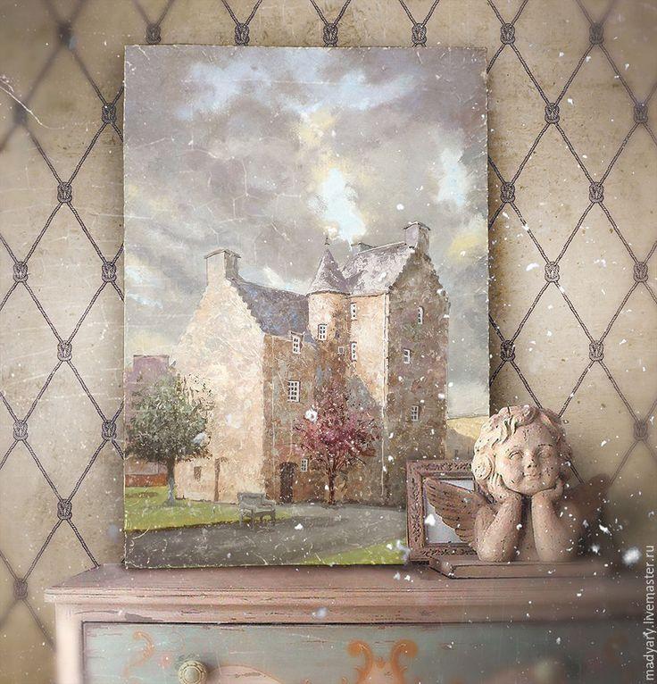 Купить картина Средневековый замок (песочный, пастельные тона) - бежевый цвет, песочный, облачное небо