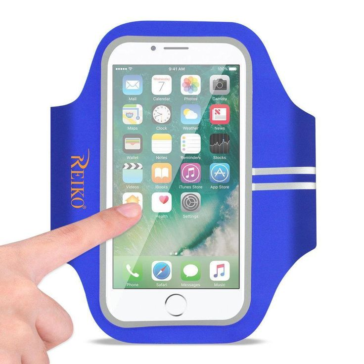 Reiko REIKO RUNNING SPORTS ARMBAND FOR IPHONE 7 PLUS- 6S PLUS OR 5.5 INCHES DEVICE IN BLUE (5.5x5.5 INCHES)