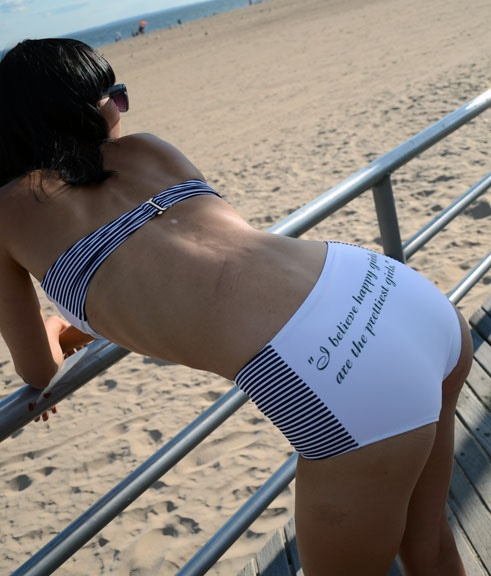 NAKInyc.com retro vintage looking high waisted bathing suit bottom with Audrey Hepburn Quote #Audreyhepburn #swimwear #retro