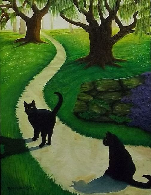 Rosemary Margaret Daunis - COME ON LET'S GO! - Black Kitty Cats - Oil on Stretched Canvas