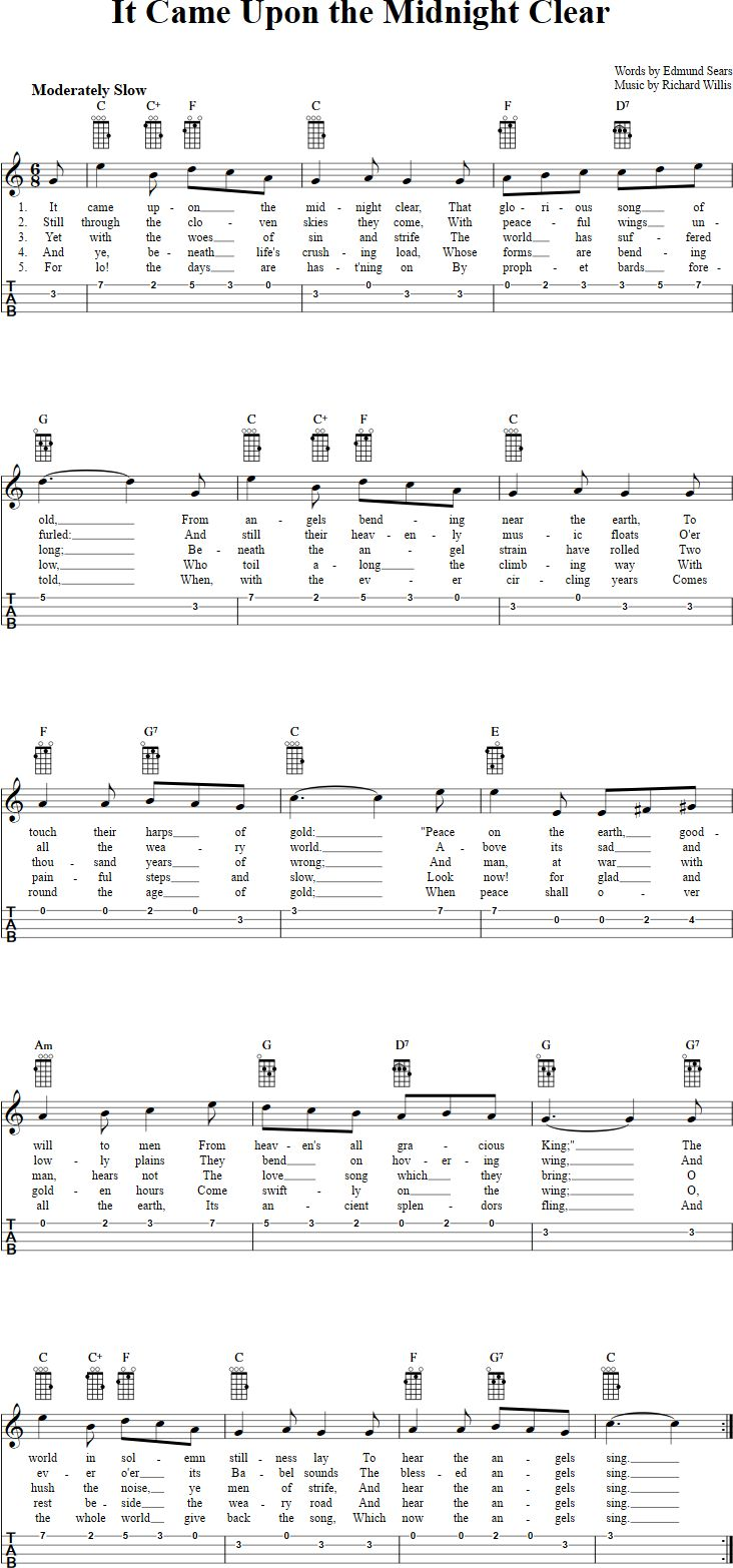 840 best ukulele images on pinterest guitars music and nativity free ukulele sheet music for it came upon the midnight clear with chord diagrams lyrics and tablature hexwebz Images