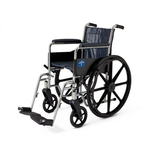 Excel Narrow Wheelchair w/ Permanent Arms (16in blue) by Medline | Jet.com