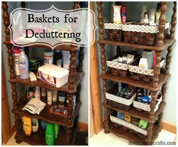 Dollar Store Crafts » Blog Archive » Reorganize Problem Clutter Areas with Baskets at Dollar General
