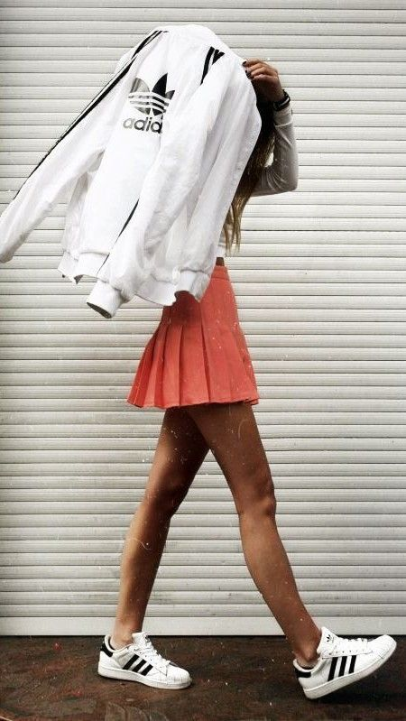 adidas. sporty chic. sneakers. pleated mini skirt.