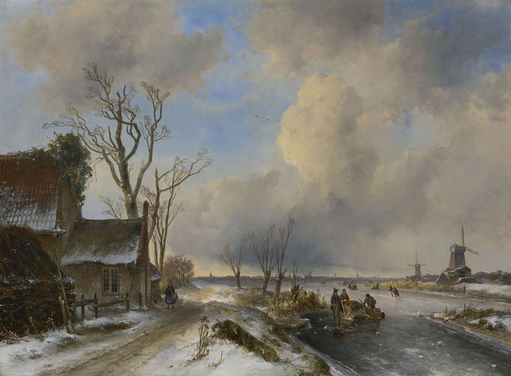 Johan Barthold Jongkind (1819-1891) Skaters on a frozen river, oil on canvas 59.2 x 80.3 cm., signed l.r. and dated '44. Collection Simonis & Buunk, The Netherlands.