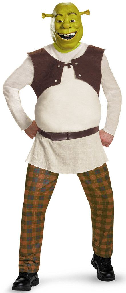Shrek Deluxe Adult Costume Includes character mask, shirt with attached vest and padding, pants with attached boot covers and waist sash. Available in Adult sizes: Standard (up to a size 38-42) and X-