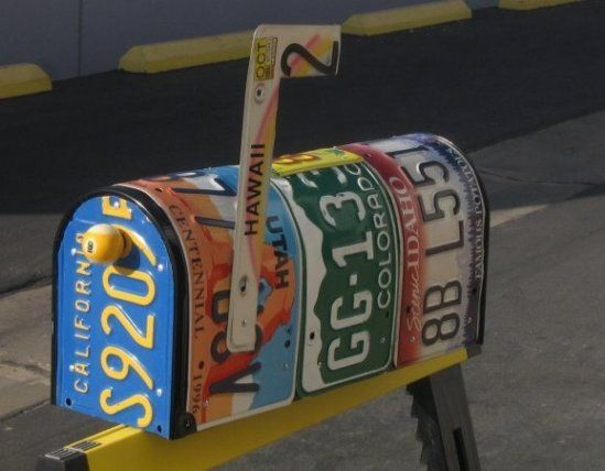 Re-purpose old license plates to cover a mailbox