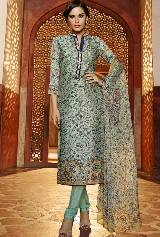 Sea foam green printed designer suit with dupatta - Desi Royale