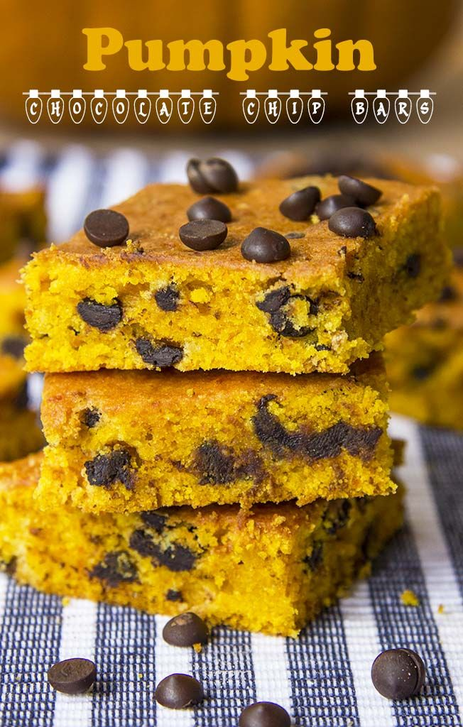 A tender pumpkin cake dotted with mini chocolate chips    www.cakescottage.com   #recipes #pumpkin #chocolatechips