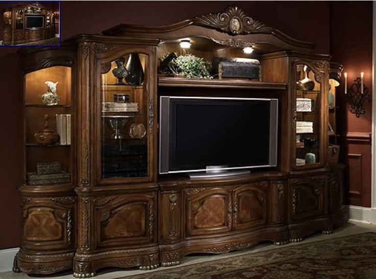 Aico Cortina Entertainment Center In Honey Walnut Entertainment Center And