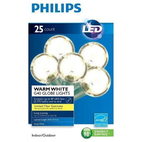 Philips G40 String Lights : Philips LED Smooth G40 Globe String Christmas Lights - Warm White (25 Count) Reception decor ...
