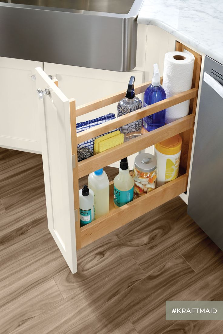 This pull out simplifies the search for the cleaning for Kraftmaid storage solutions
