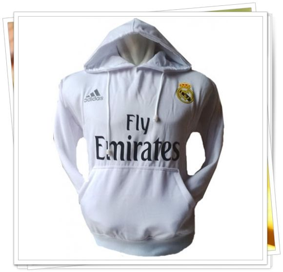 Jaket/Sweater Hoodie Bola - Real Madrid (Putih)