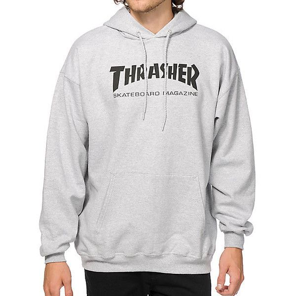 Thrasher Skate Mag Hoodie (79 CAD) ❤ liked on Polyvore featuring tops, hoodies, fleece lined hoodie, grey hooded sweatshirt, gray hooded sweatshirt, gray hoodies and gray top