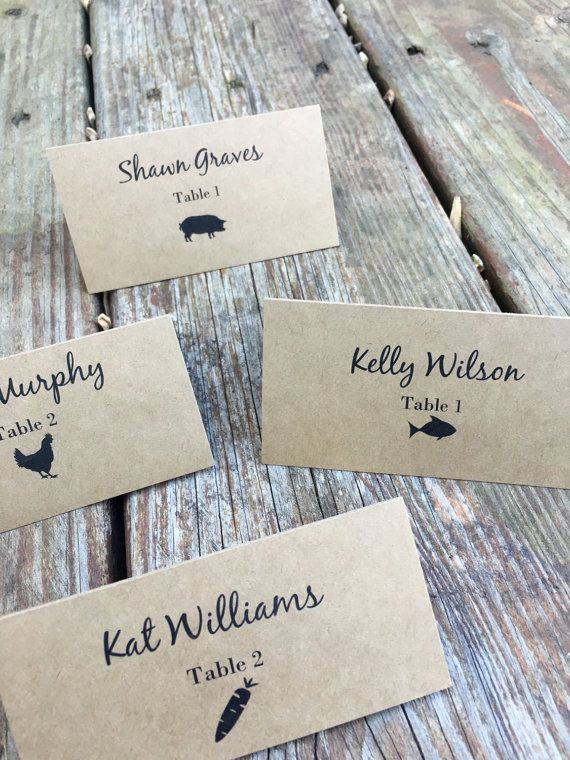 Personalized Meal Choice Place Cards / Escort Cards Place Card / Table Card Set