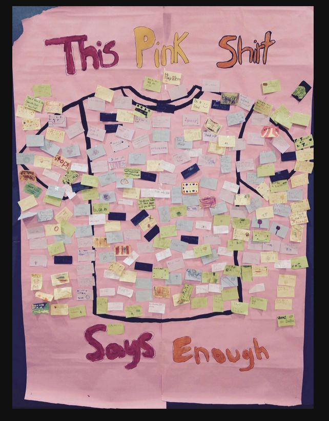 245 students at Lakeview Elementary posted their own msg to our giant Pink Shirt!