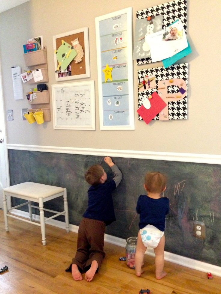 family command center and chalkboard wall - fun idea.  maybe add a chair rail in the breakfast nook and paint a portion with chalkboard paint?