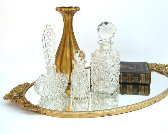 Vintage Gold Matson Mirrored Vanity Tray, Roses, Ornate