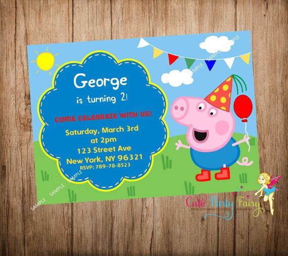 George Pig Party Invitation George Party by CutePartyFairy on Etsy