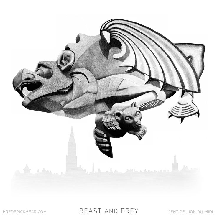"""""""Beast and Prey"""", an illustration from my book """"Frederick Bear - A Tale of Bern"""". Executed by hand in Procreate on the iPad Pro. The original sculpture is based on a gargoyle on the roof of  Berner Münster. I thought that this sculpture perfectly represented the terrifying clash of the protagonists at the end of the book. #bern #bear #switzerland #art #literature #book #drawing #procreate #digital-art #apple #iPad #print #giclée #realism #illustration #sketch #artist #instaart #artwork"""