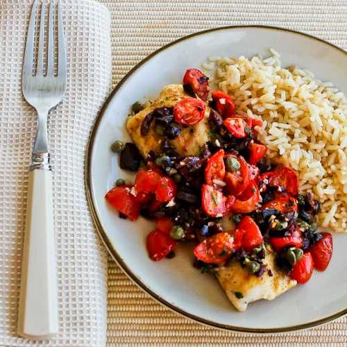 Recipe for Hake Loins Baked with Tomato, Kalamata Olive, and Caper Salsa from Kalyn's Kitchen {#SouthBeachDiet Phase One recipe]
